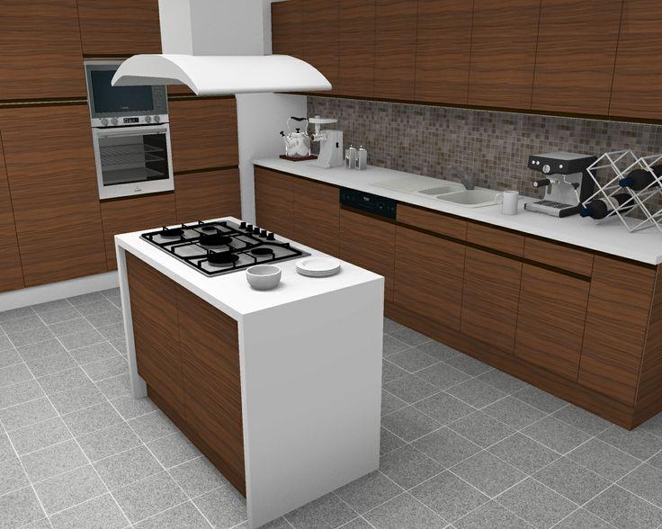 Wood Grain Kitchen With Island Rendered In HomeByMe   Kitchen Decorating U0026  Design Ideas Http: