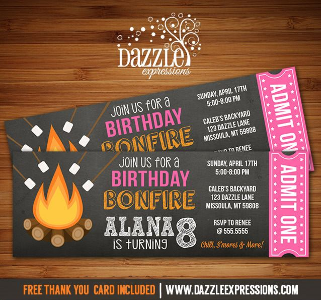 Printable Bonfire Chalkboard Ticket Birthday Invitation | S'mores Party | Roast and Toast | Camping | Glamping | Beach Bonfire Party | Girls Summer or Fall Party | FREE thank you card included | DIY Invite | Digital File | Printable Matching Party Package Decorations Available! Banner | Signs | Labels | Favor Tags | Water Bottle Labels and more! www.dazzleexpressions.com