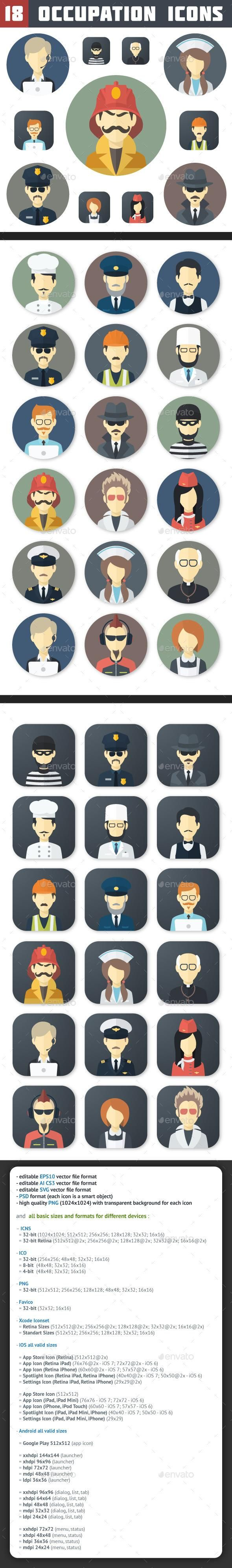 Flat Occupation Icons Set #characters