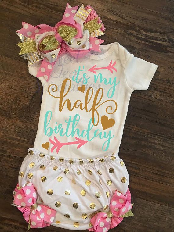 Half Birthday Baby Bodysuit Quick Shipping by SweetTeaSpecialties
