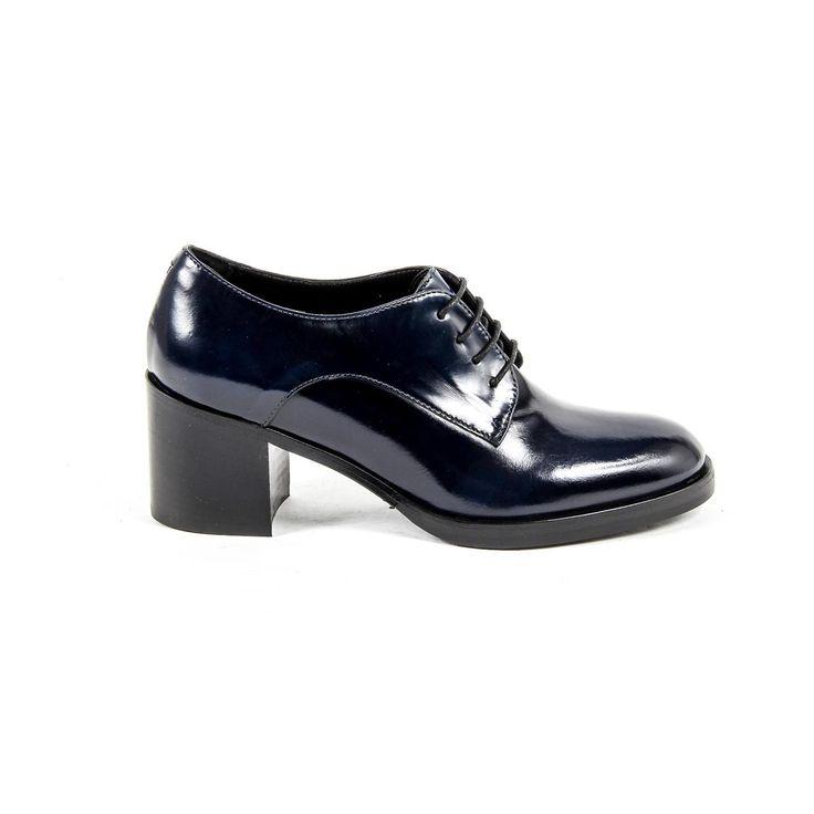 Versace 19.69 Abbigliamento Sportivo Srl Milano Italia Womens Heeled Oxford Shoe B2369 ABRASIVATO BLU