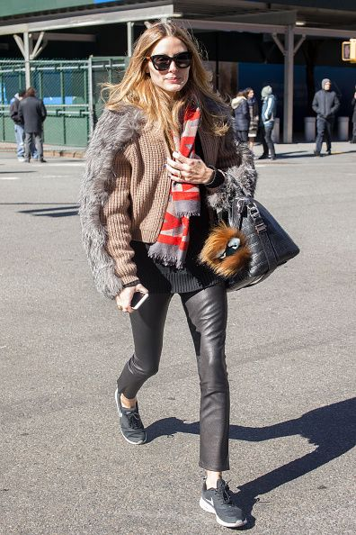 Olivia Palermo see running errands in Tribeca during New York City Fashion Week on February 18, 2016 in New York City