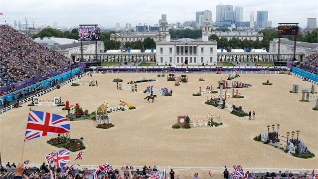 The Greenwich Park stadium for the Show Jumping London 2012 Olympics.