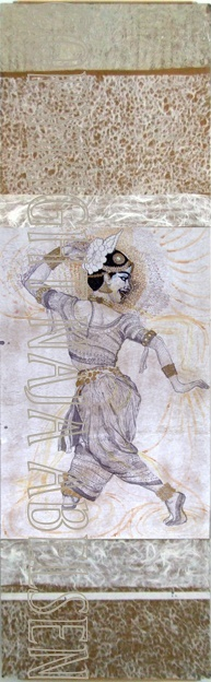 The Indian Dancer. Ink drawing mounted on board by Naja Abelsen. THE DANCE! - www.123hjemmeside.dk/NajaAbelsen