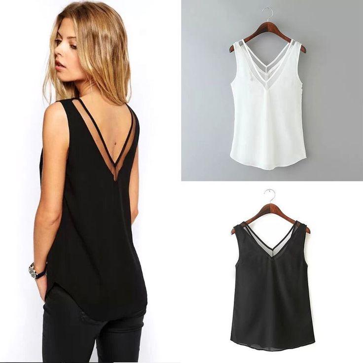 Camiseta de verão moda feminina Camisa Sem Mangas de Chiffon Blusa Solta Casual Regatas Colete   Roupas, calçados e acessórios, Roupas femininas, Blusas e túnicas   eBay!