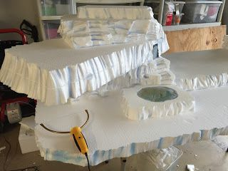 Today I made the styrofoam base for the Candyland village! Why does it have to be 90 degrees here?              I started out with three ...