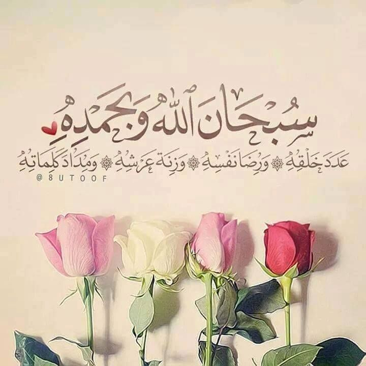 Subhan-Allahi wa bihamdihi, `adada khalqihi, wa rida nafsihi, wa zinatah `arshihi, wa midada kalimatihi  [ Allah-Jallah jalala hu, is free from imperfection and I begin with His praise, as many times as the number of His creatures, in accordance with His Good Pleasure, equal to the weight of His Throne and equal to the ink that may be used in recording the words (for His Praise)].''