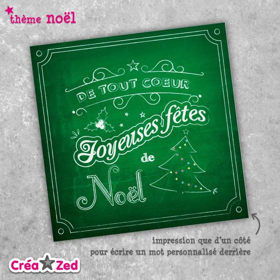 #carte de #noël originale thème #vintage, #sapin, ardoise - enveloppe comprise