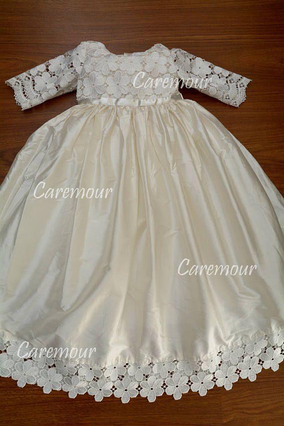 Baptism dress for girls, baby girl christening gown, silk ...