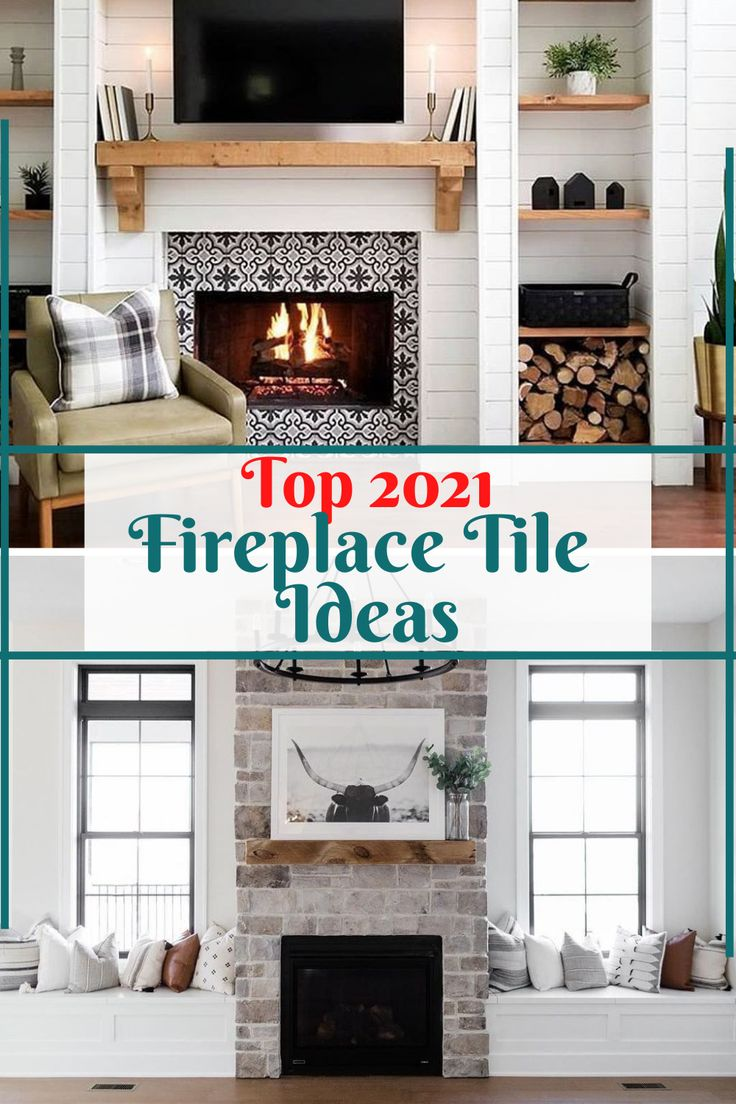 Top 2021 Fireplace Tile Ideas in 2021   Fireplace makeover, Fireplace, Brick fireplace makeover
