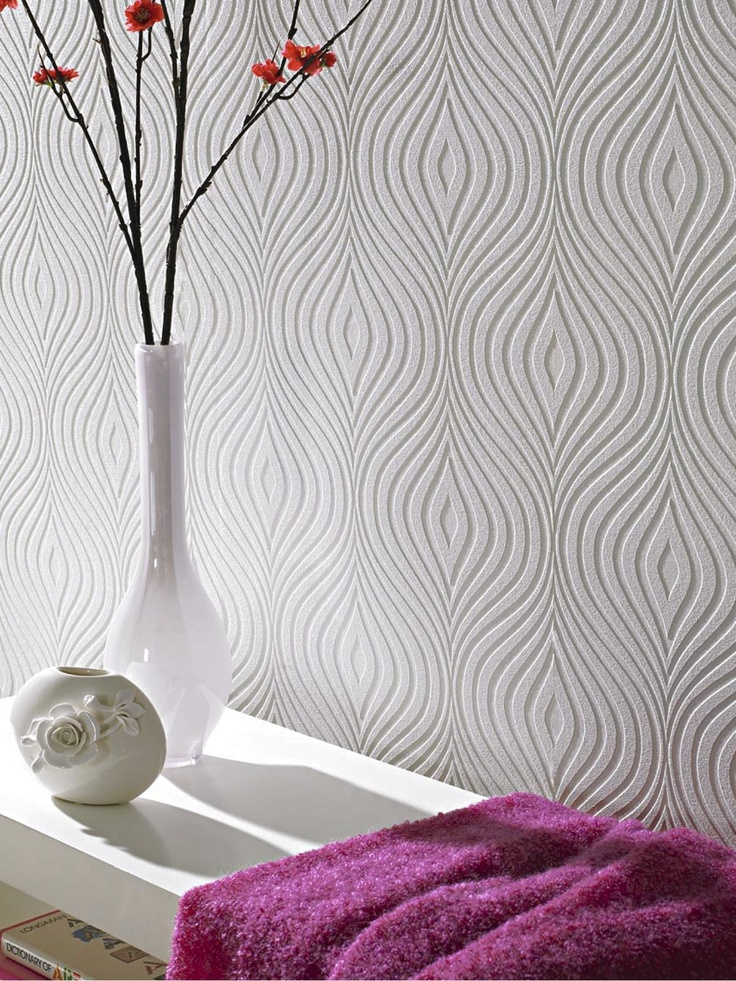 Graham & Brown Curvy Paintable White Wallpaper