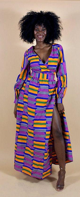 ADA wrap dress. African print maxi wrap dress. Ankara | Dutch wax | Kente | Kitenge | Dashiki | African print bomber jacket | African fashion | Ankara bomber jacket | African prints | Nigerian style | Ghanaian fashion | Senegal fashion | Kenya fashion | Nigerian fashion | Ankara crop top (affiliate)