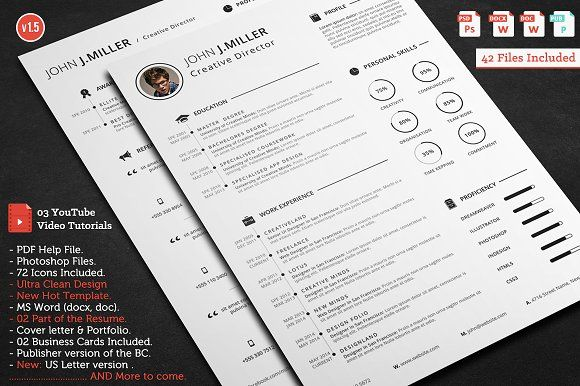 Ultra Clean Resume Resume cv, Letterhead and Business cards - resume template publisher