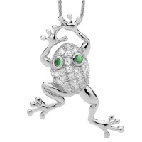 Frog with green eyes pendant