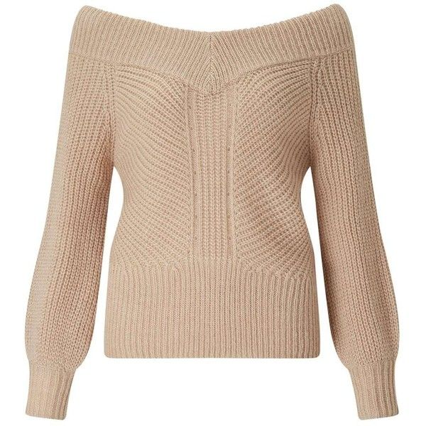 Miss Selfridge Camel Bardot Volume Sleeve Knitted Jumper (1,305 MXN) ❤ liked on Polyvore featuring tops, sweaters, camel, sleeve top, long sleeve sweater, camel sweater, miss selfridge tops and sleeve sweater
