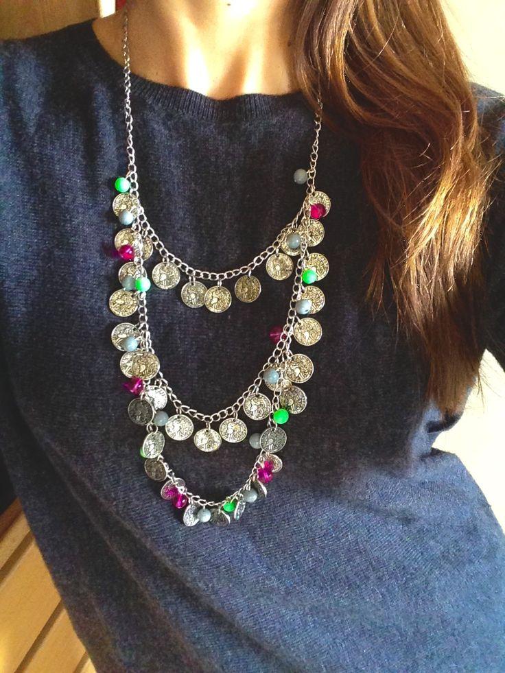 Gipsy style coins necklace