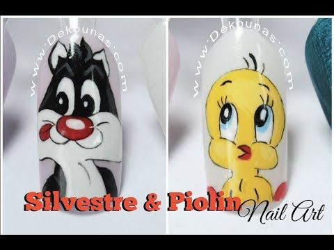 Diseño de uñas Caricatura Silvestre y Piolin - Cartoon Nails - YouTube
