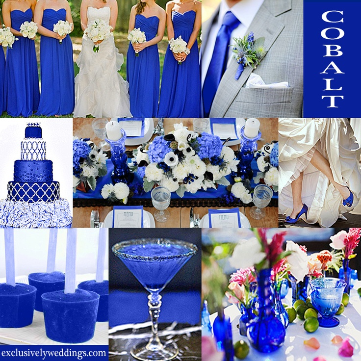 Cobalt Blue Wedding Color - Cobalt is usually seen in it's most vibrant hue and is very similar to sapphire and royal. #exclusivelyweddings | All of our color story collages can be found here:  http://pinterest.com/exclusivelywed/wedding-color-stories/
