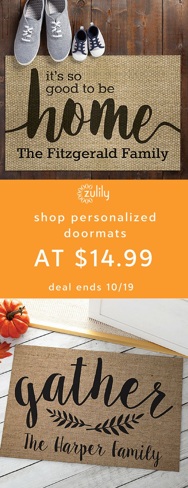 Sign up to shop personalized doormats at $14.99. Welcome friends and family to your home the heartfelt way with personalized mats. Each product showcases a name, initial or special message for a homey, one-of-a-kind feel. Deal ends 10/19