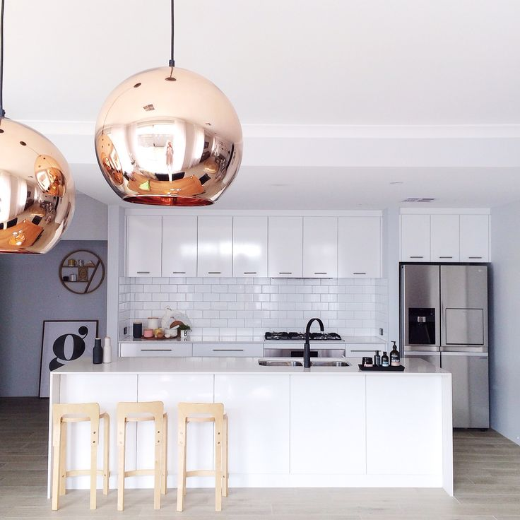 Scandi all white kitchen copper pendants lights tom Dixon