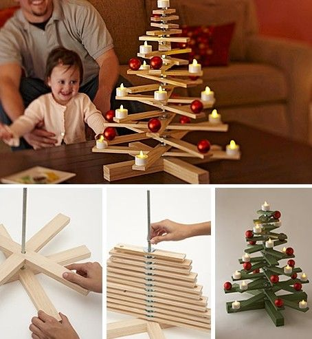 Easy homemade Christmas craft photo. Make mini ones with paddle pop sticks
