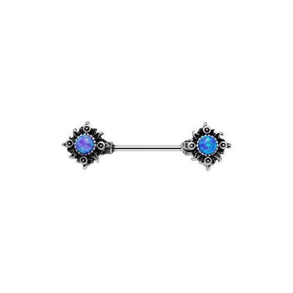"""14 Gauge 5/8"""" Purple Synthetic Opal Tribal Sun Barbell Nipple Ring ❤ liked on Polyvore featuring jewelry, rings, imitation jewellery, purple rings, fake jewelry, tribal jewellery and imitation jewelry"""