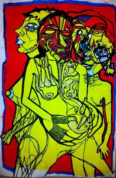 Yellow such a candid colour / Acrylic on paper / 100x65cm / Yellow such a candid colour was exhibited at 100% NUDE show
