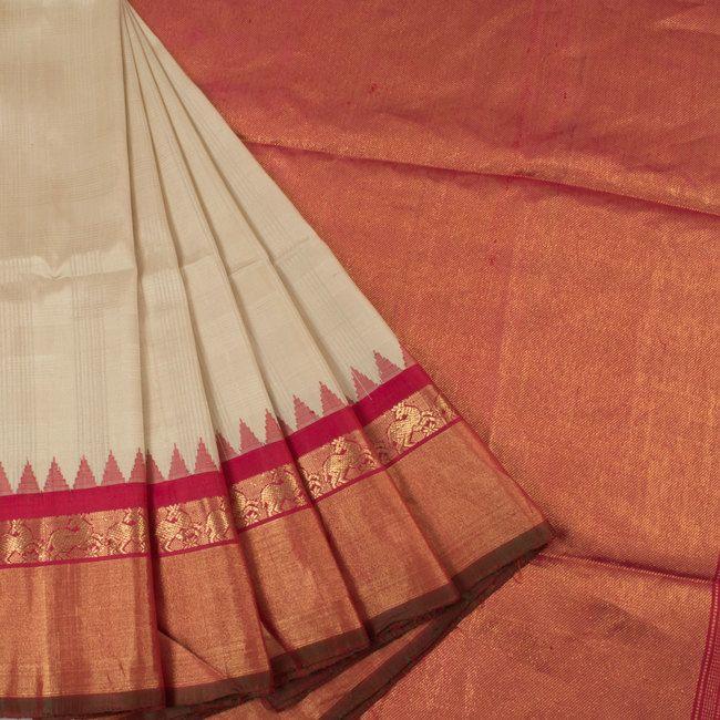 Handwoven Beige Gadwal Kuttu Silk Saree With Stripes & Temple Border 10018354 - AVISHYA.COM