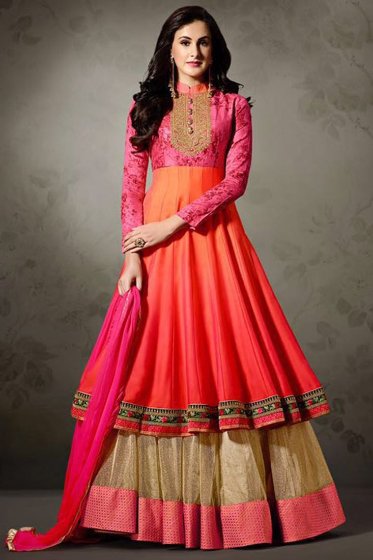 Online Shopping of Embroidery Work On Orange Art Silk And Net Party Wear Long Anarkali Salwar Suit from SareesBazaar, leading online ethnic clothing store offering latest collection of sarees, salwar suits, lehengas & kurtis