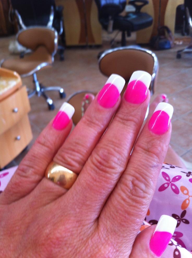 hot pink tip nails - photo #9