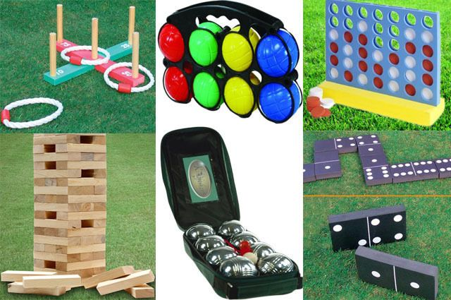 NEW GARDEN LAWN BBQ PARTY GAMES GIANT JENGA TOWER / CONNECT 4 IN A ROW / QUOITS