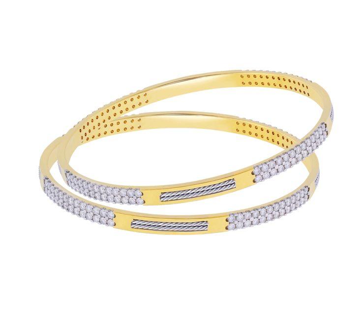 Diamond bangle with a very modern design.