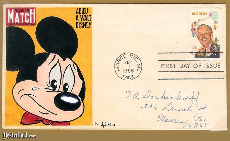 "This Walt Disney Stamp First Day Cover features a picture of a sad Mickey Mouse, which had been featured on the cover of Paris Match's December 24, 1966 issue; ""Adieu A Walt Disney"" translates as ""Goodbye, Walt Disney"" (Walt Disney had died on December 15, 1966)"