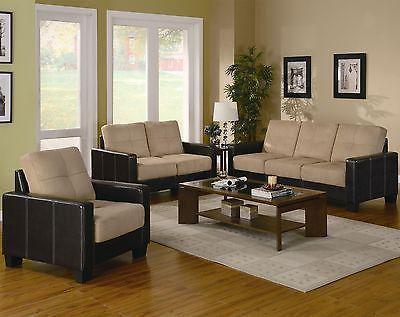 regatta contemporary khaki microfiber dark brown vinyl 3pcs living room set. beautiful ideas. Home Design Ideas