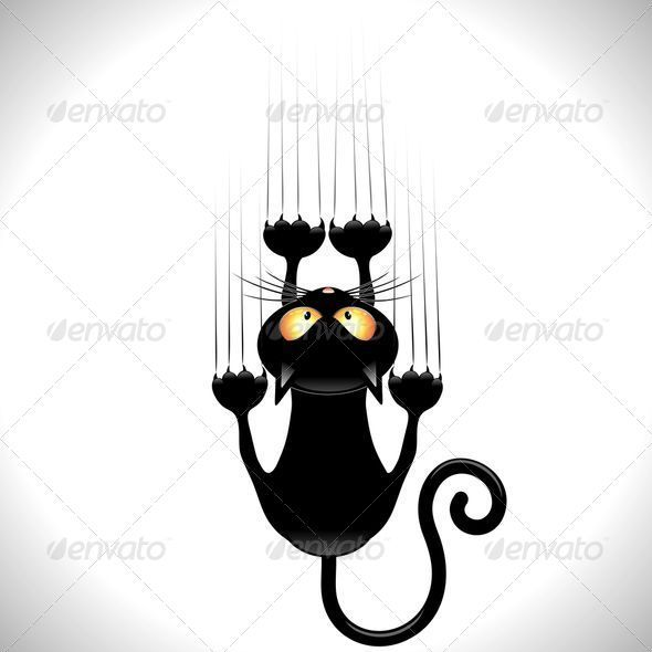 Graphic Funny Black Cat Cartoon Scratching Wall Vector illustration by Bluedarkart