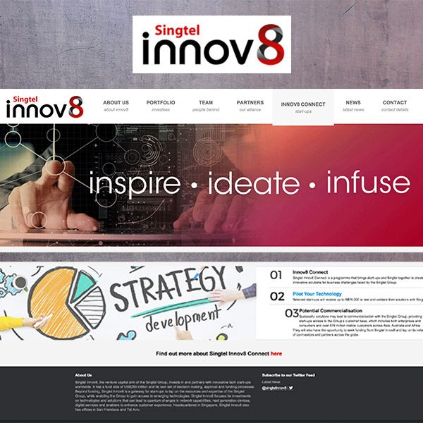 A website for a programme to bring start-ups and Singtel together to create innovative solutions for business challenges. http://innov8.singtel.com/connect.html