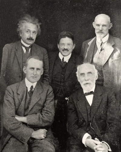 From left to right: Einstein, Lorentz, Ehrenfest, Eddington, De Sitter.
