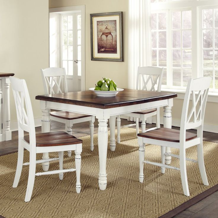 Monarch 5 Pc. Dining Table With 4 Double X Back Chairs   White U0026