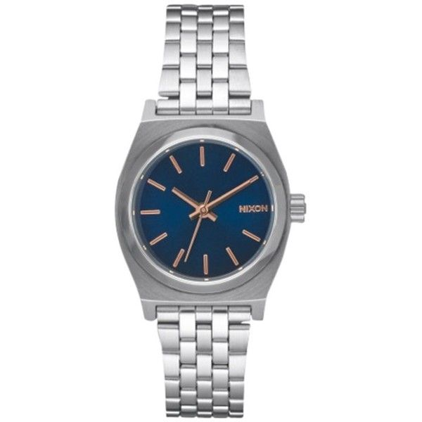 Nixon Women's Small Time Teller Bracelet Strap Watch ($63) ❤ liked on Polyvore featuring jewelry, watches, rose gold, blue watches, blue jewelry, nixon watches, special occasion jewelry and blue dial watches