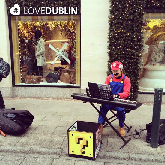 #Buskers come in all shapes and sizes in the city...here's #SuperMario spotted by @elo_here on #Instagram #Music #Grafton Street #Dublin #LoveDublin #Streets #Keyboard