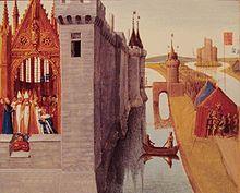 couronnement de Louis VI à Orléans, 5° roi de la dynastie des Capétiens directs.  fils de Philippe I° et de sa 1° épouse Berthe de Hollande. Après avoir répudié Berthe en 1092 et malgré les protestations du clergé, son père se remarie la même année avec Bertrade de Montfort, comtesse d'Anjou. De cette 2° union naissent 4 enfants, dont 2 fils.  Louis, jeune prince issu du 1° mariage de son père, est élevé avec Suger, futur abbé de St-Denis, qui devient son ami proche, puis son conseiller.