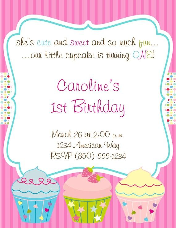 Cupcake Theme Essentials Birthday Party Package By PartySoPerfect, $25.00  Birthday Invite Words