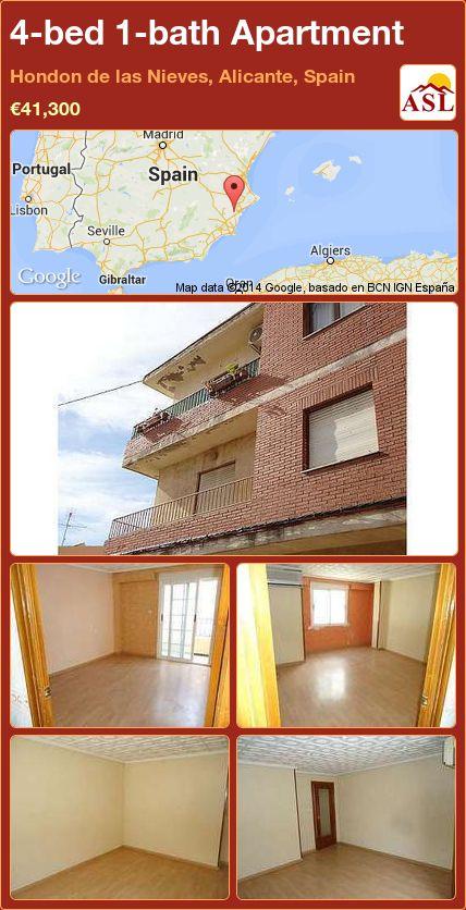 4-bed 1-bath Apartment in Hondon de las Nieves, Alicante, Spain ►€41,300 #PropertyForSaleInSpain