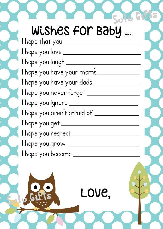 SALE Baby Boy Baby Owl Shower Game Wishes for Baby by SuLuGifts, $6.95