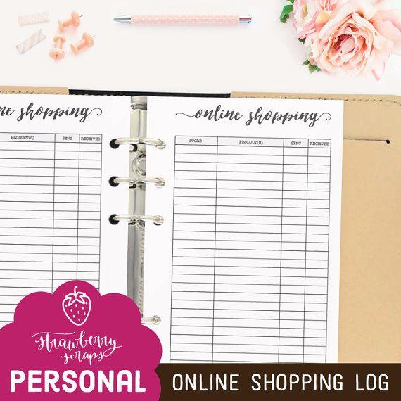 Online shopping planner: ONLINE SHOPPING LOG