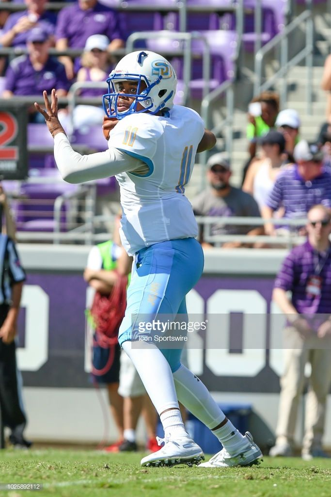 ea9b6010a Southern University Jaguars quarterback John Lampley looks downfield ...