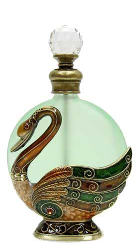 Jeweled & Enameled Swan Perfume Bottle