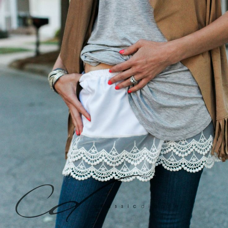 White Scalloped Lace slip on Shirt Extender by Classic Dianne