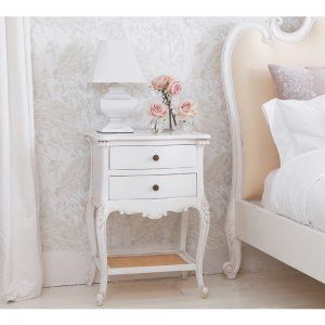 Provencal 2 Drawer White Bedside Table   French Bedroom Company Shabby Chic  Side Table Sale