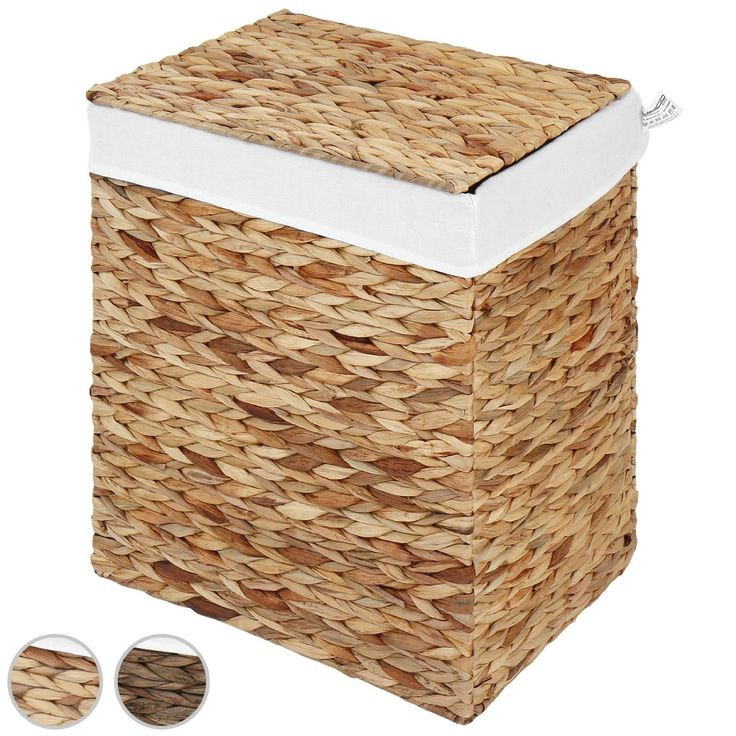 Jago Laundry Basket (Water Hyacinth) Laundry Storage Box with Removable Fabric Cover (Natural, M): Amazon.co.uk: Kitchen & Home